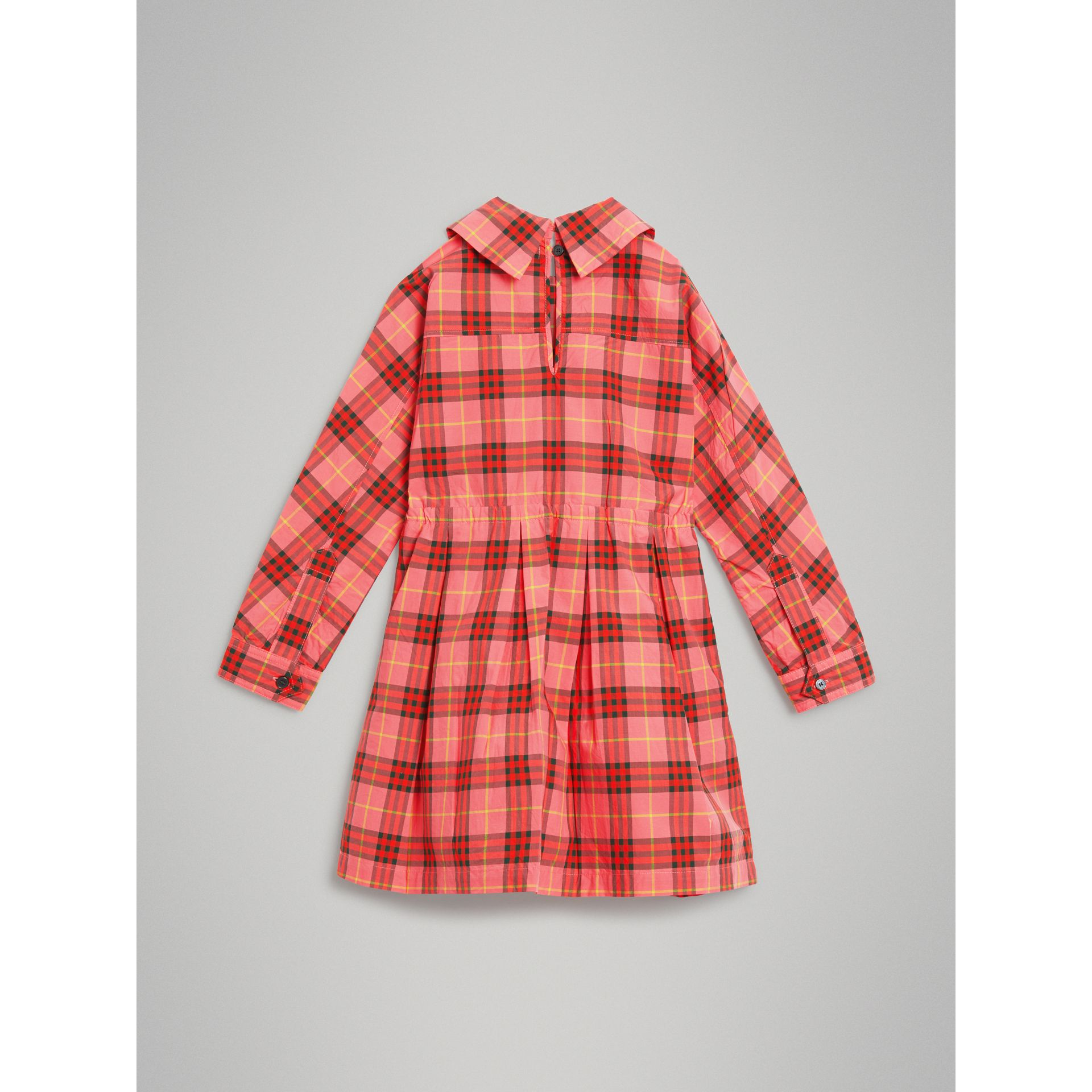 Robe à cordon de serrage en coton à motif check (Rouge Corail) - Fille | Burberry - photo de la galerie 3
