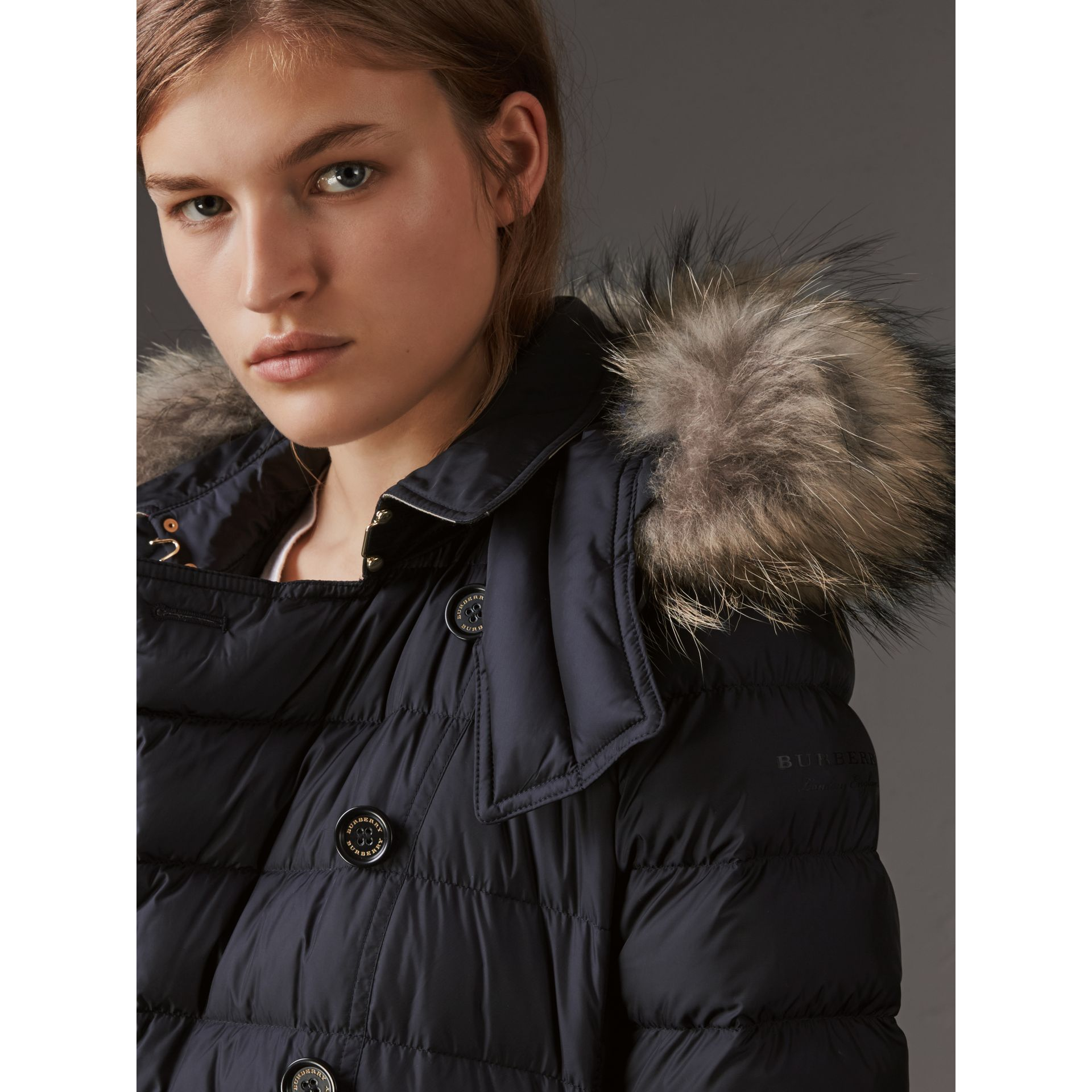 Detachable Hood Fur Trim Down-filled Puffer Coat in Navy - Women | Burberry - gallery image 1