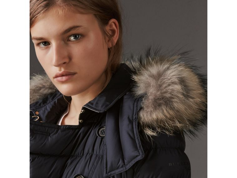 Detachable Hood Fur Trim Down-filled Puffer Coat in Navy - Women | Burberry Hong Kong - cell image 1