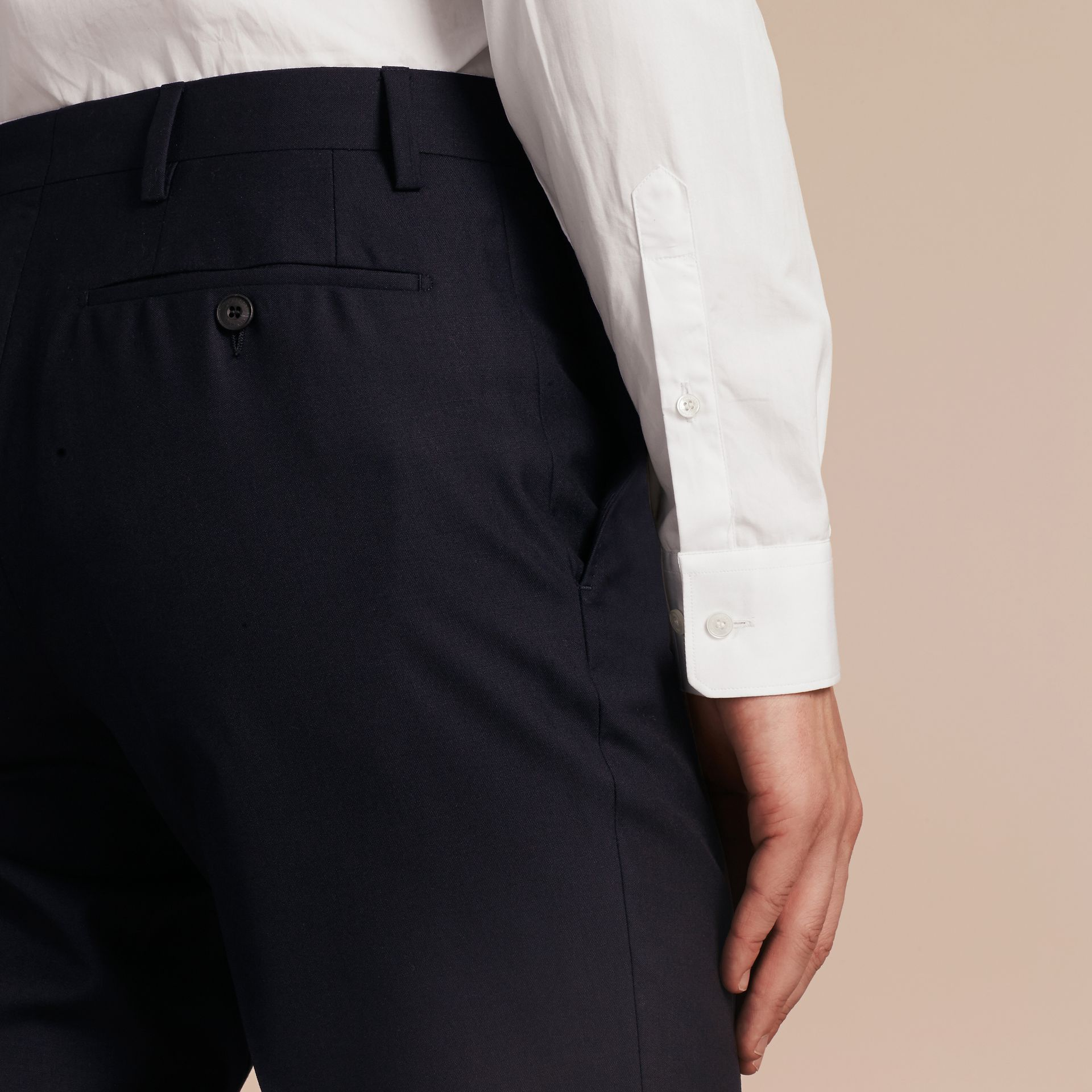 Slim Fit Wool Trousers in Navy - Men | Burberry Australia - gallery image 4