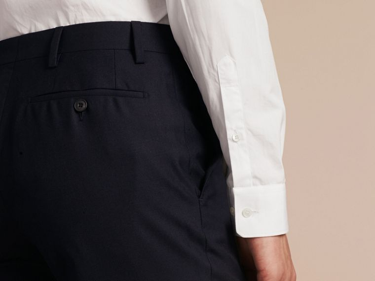 Slim Fit Wool Trousers in Navy - Men | Burberry Australia - cell image 4