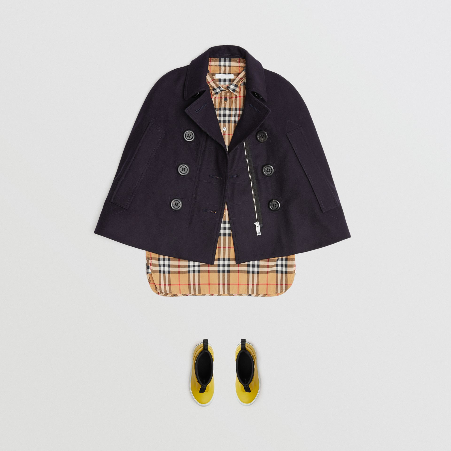 Wool Pea Coat Cape in Navy | Burberry - gallery image 2