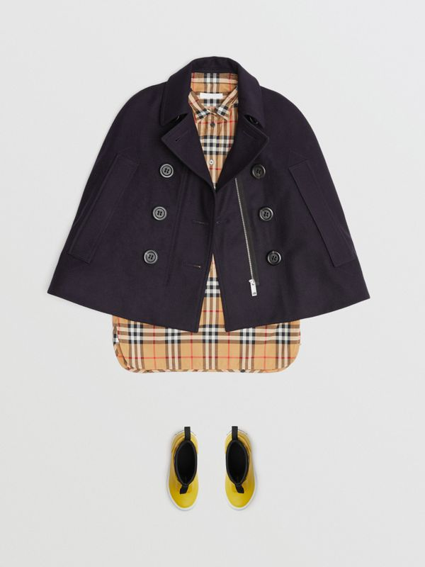Wool Pea Coat Cape in Navy | Burberry - cell image 2