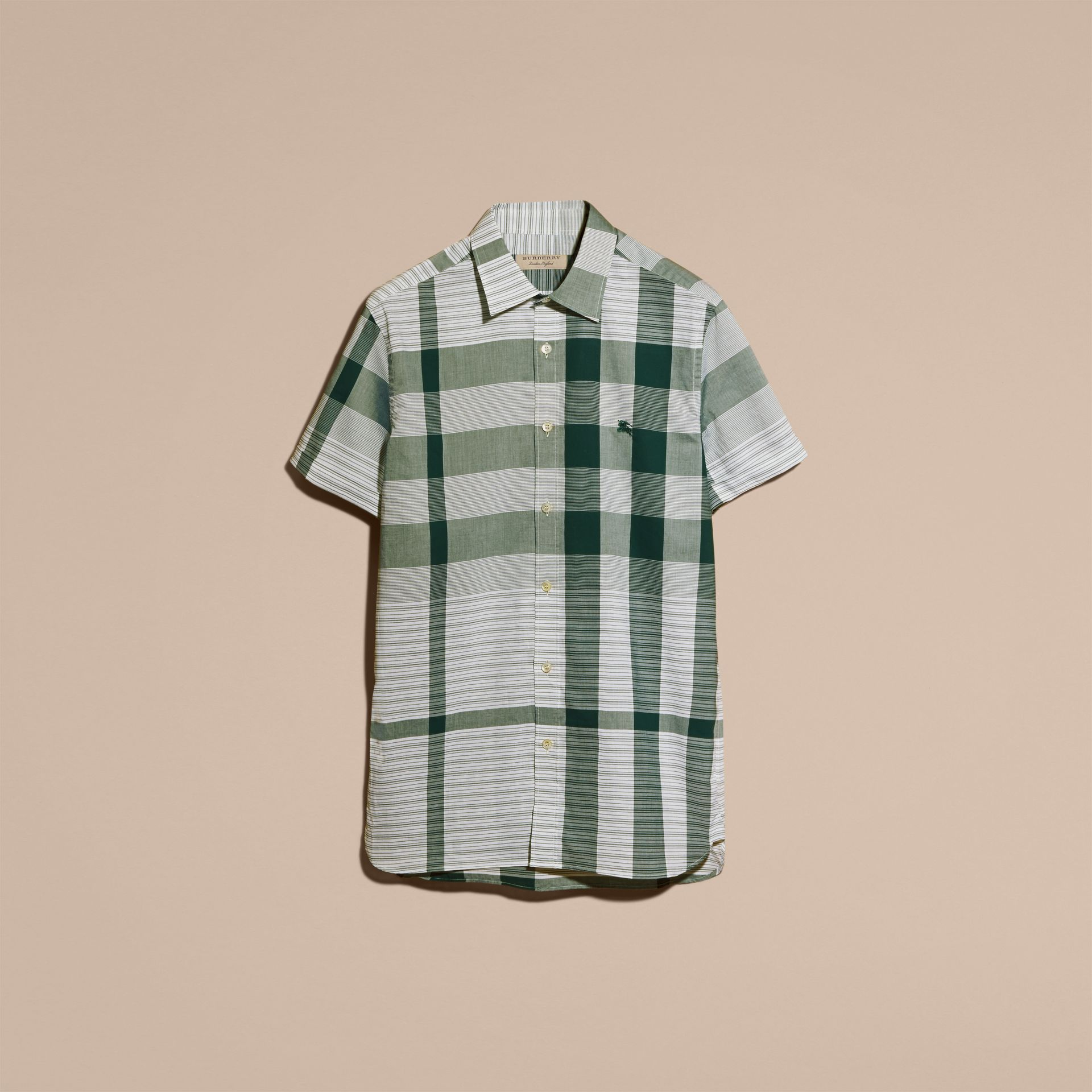 Short-sleeved Tonal Check Cotton Shirt Dark Bottle Green - gallery image 4