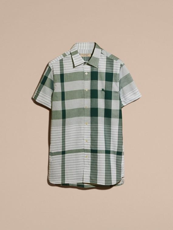 Short-sleeved Tonal Check Cotton Shirt Dark Bottle Green - cell image 3