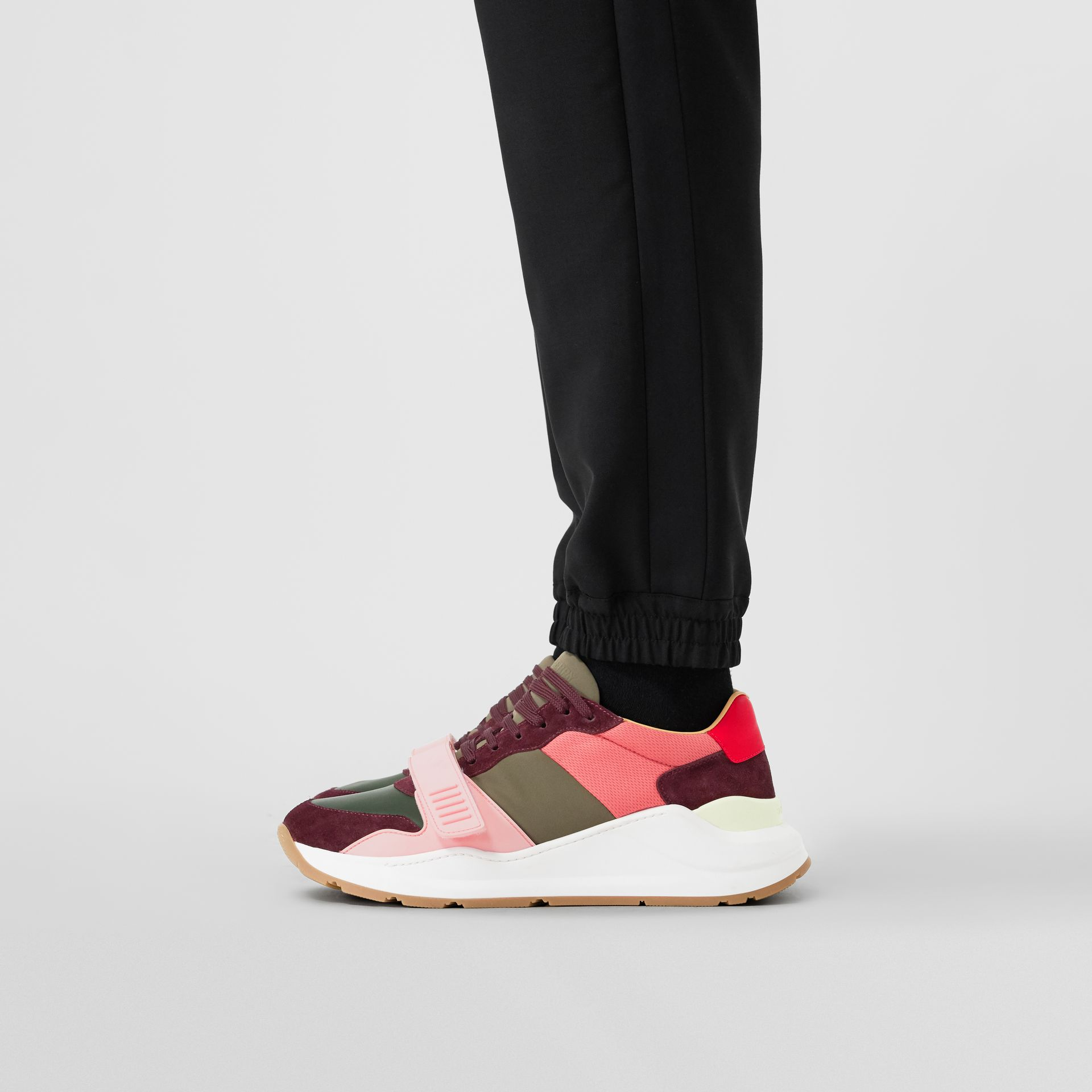 Colour Block Suede and Neoprene Sneakers in Bordeaux/khaki - Men | Burberry Canada - gallery image 2