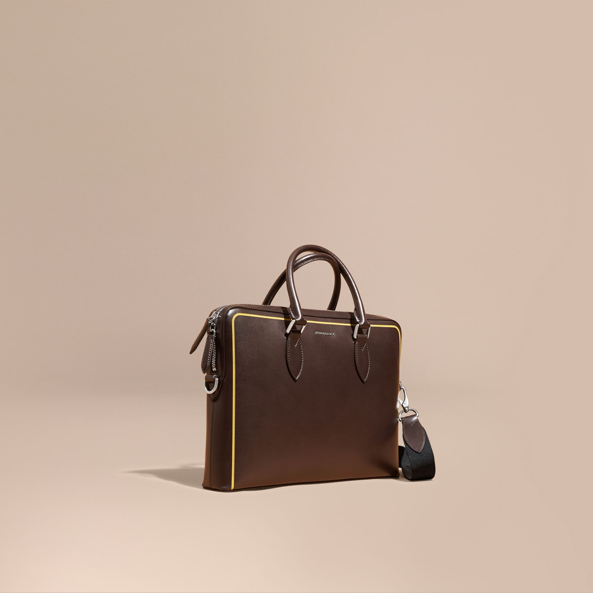 The Slim Barrow Bag in London Leather with Border Detail Peppercorn - gallery image 1