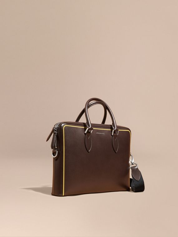 The Slim Barrow Bag in London Leather with Border Detail Peppercorn