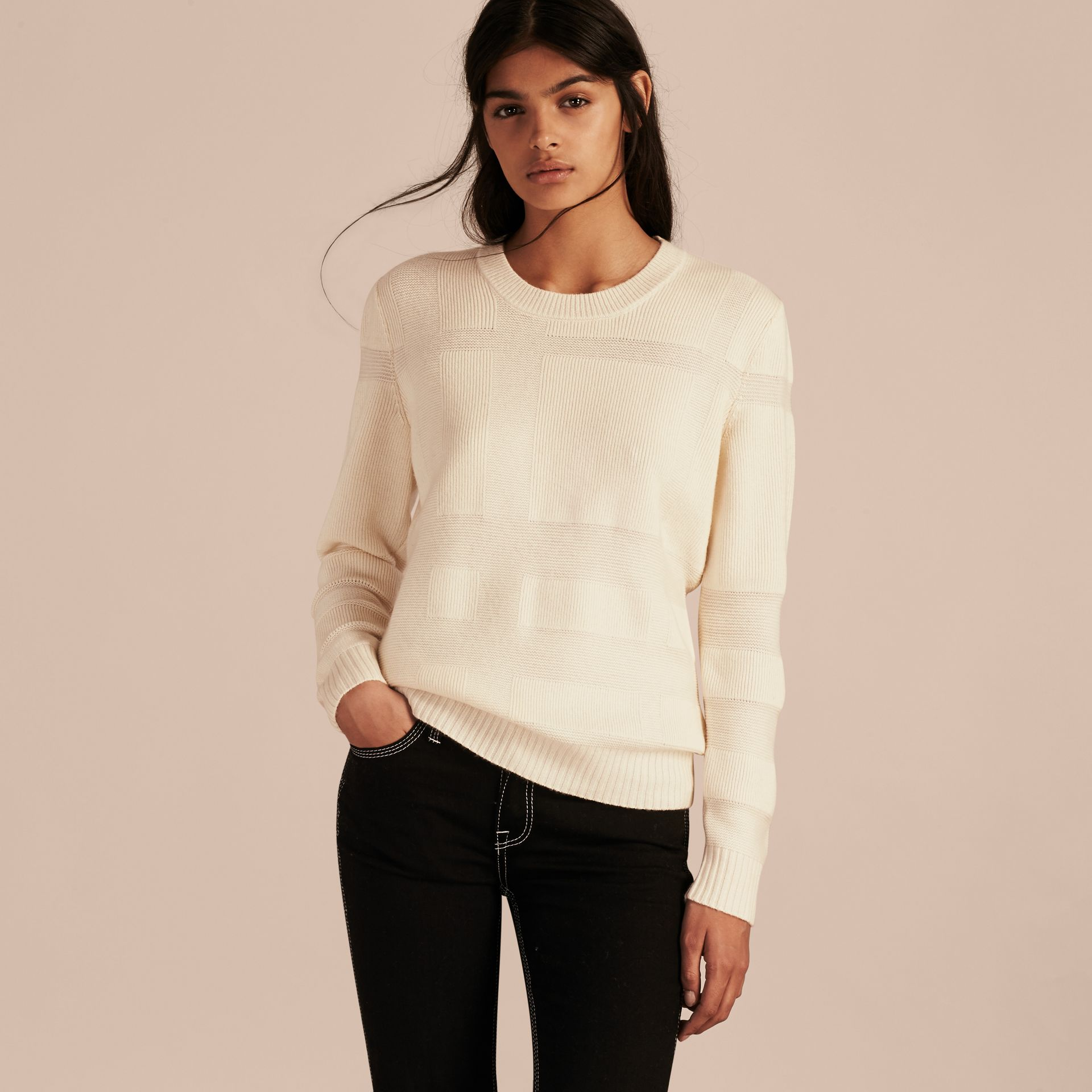 Check-knit Wool Cashmere Sweater Natural White - gallery image 6