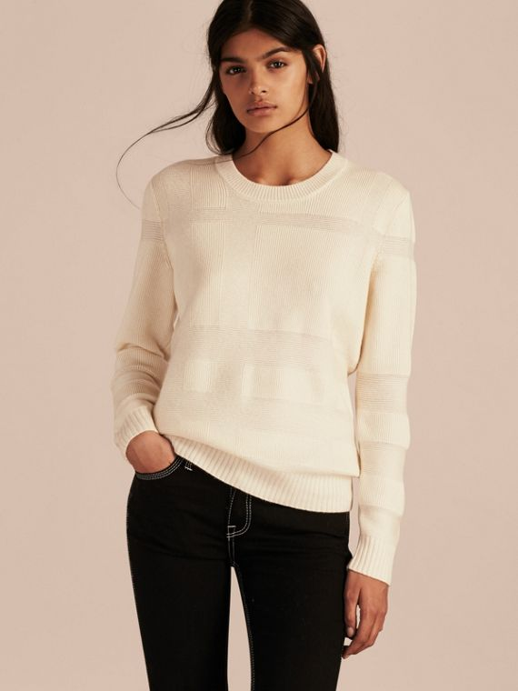 Check-knit Wool Cashmere Sweater Natural White