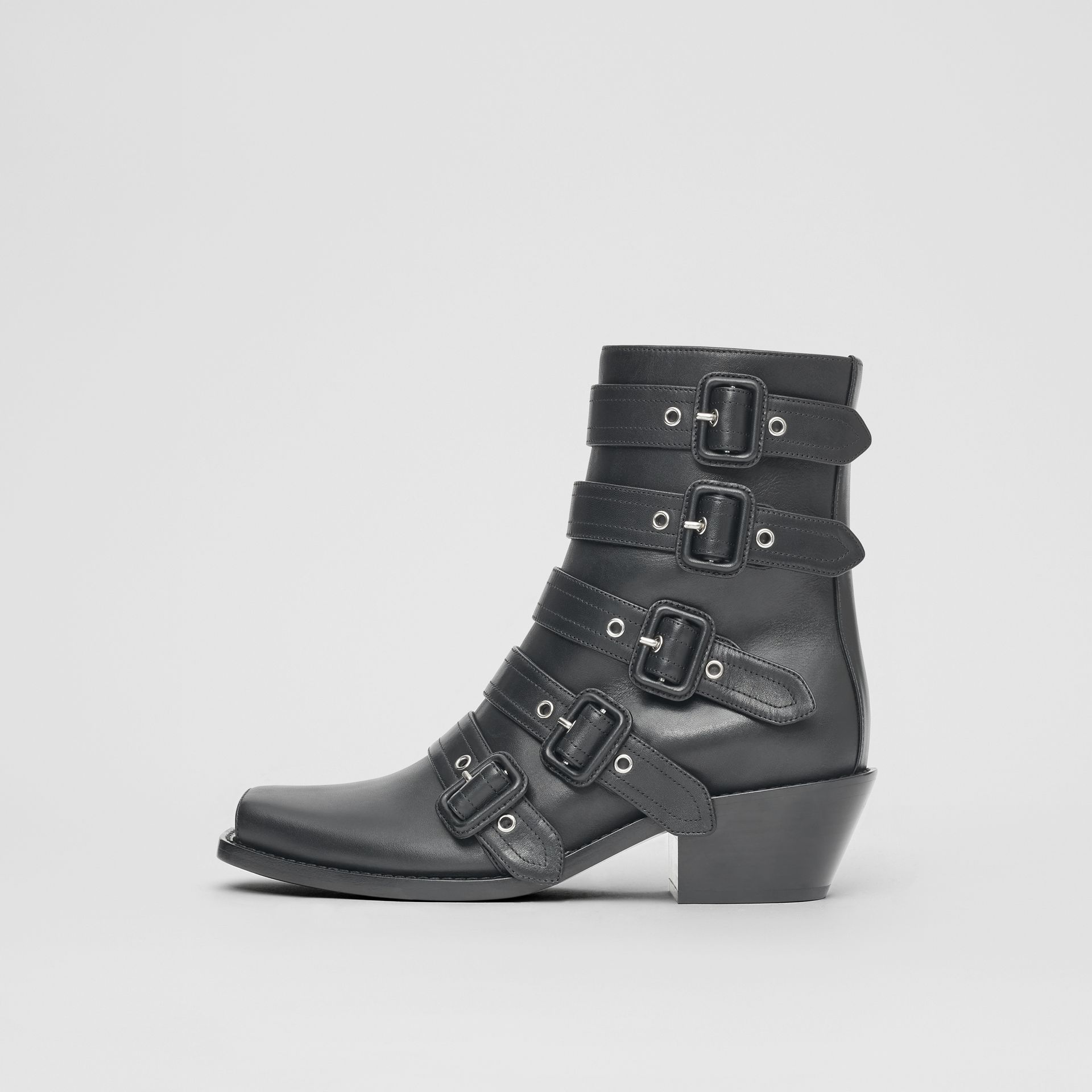 Buckled Leather Peep-toe Ankle Boots in Black - Women | Burberry - gallery image 6
