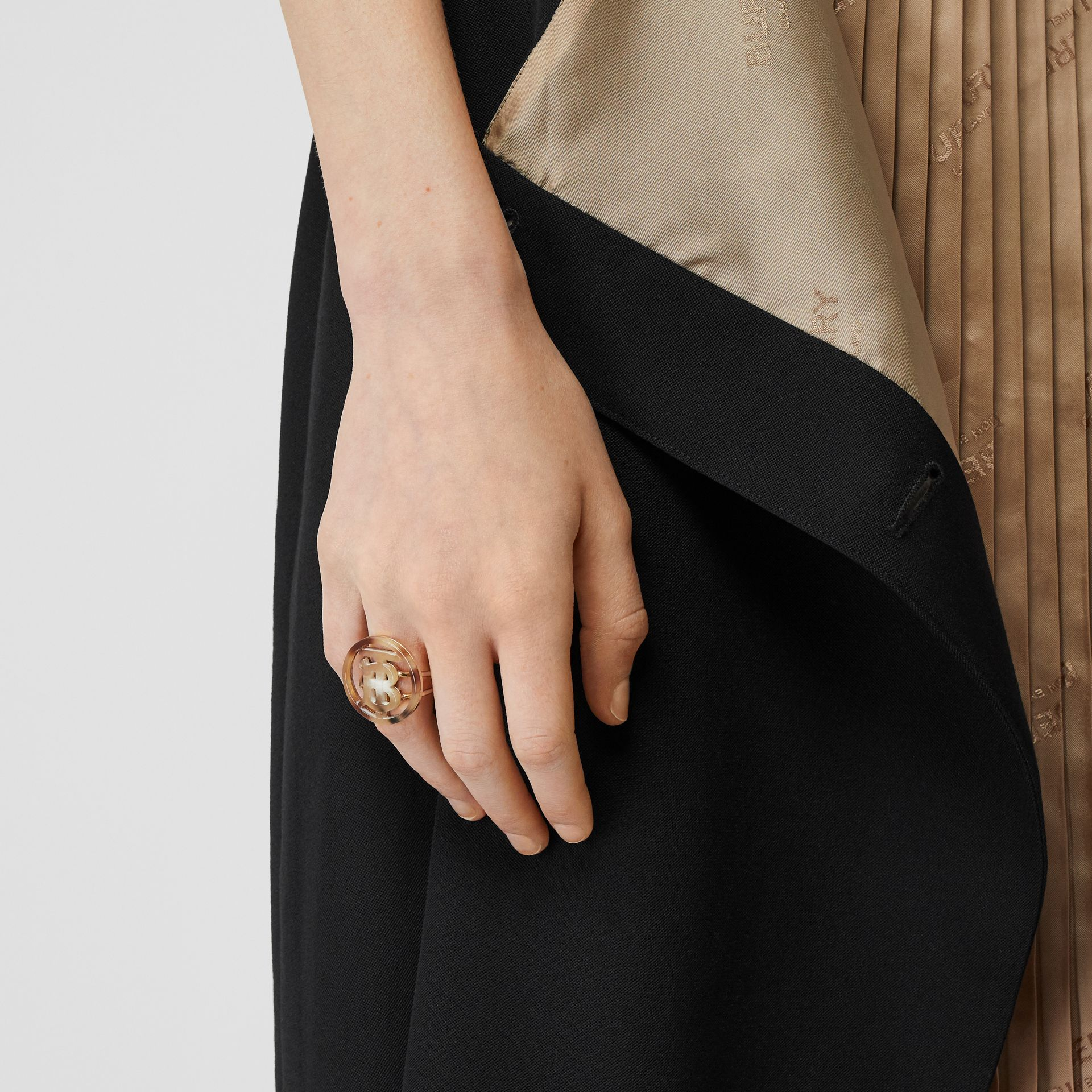Resin and Gold-plated Monogram Motif Ring in Light Gold/horn - Women | Burberry Hong Kong S.A.R - gallery image 1