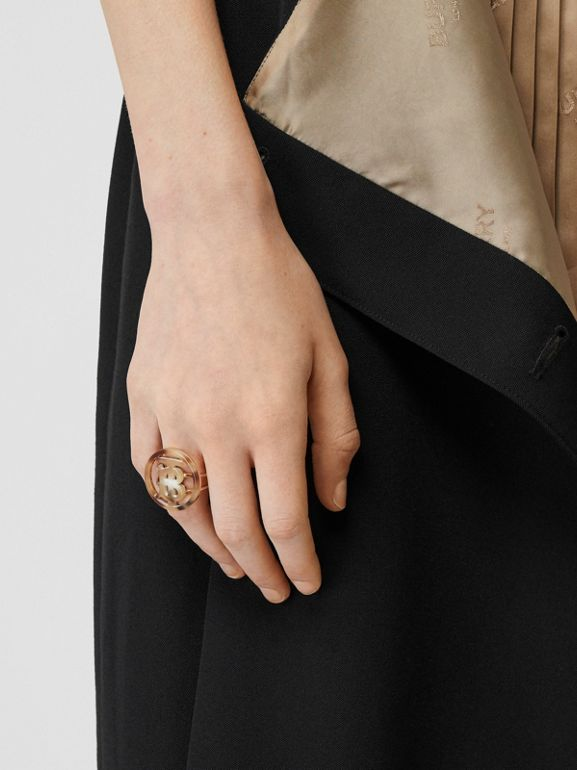 Resin and Gold-plated Monogram Motif Ring in Light Gold/horn - Women | Burberry - cell image 1