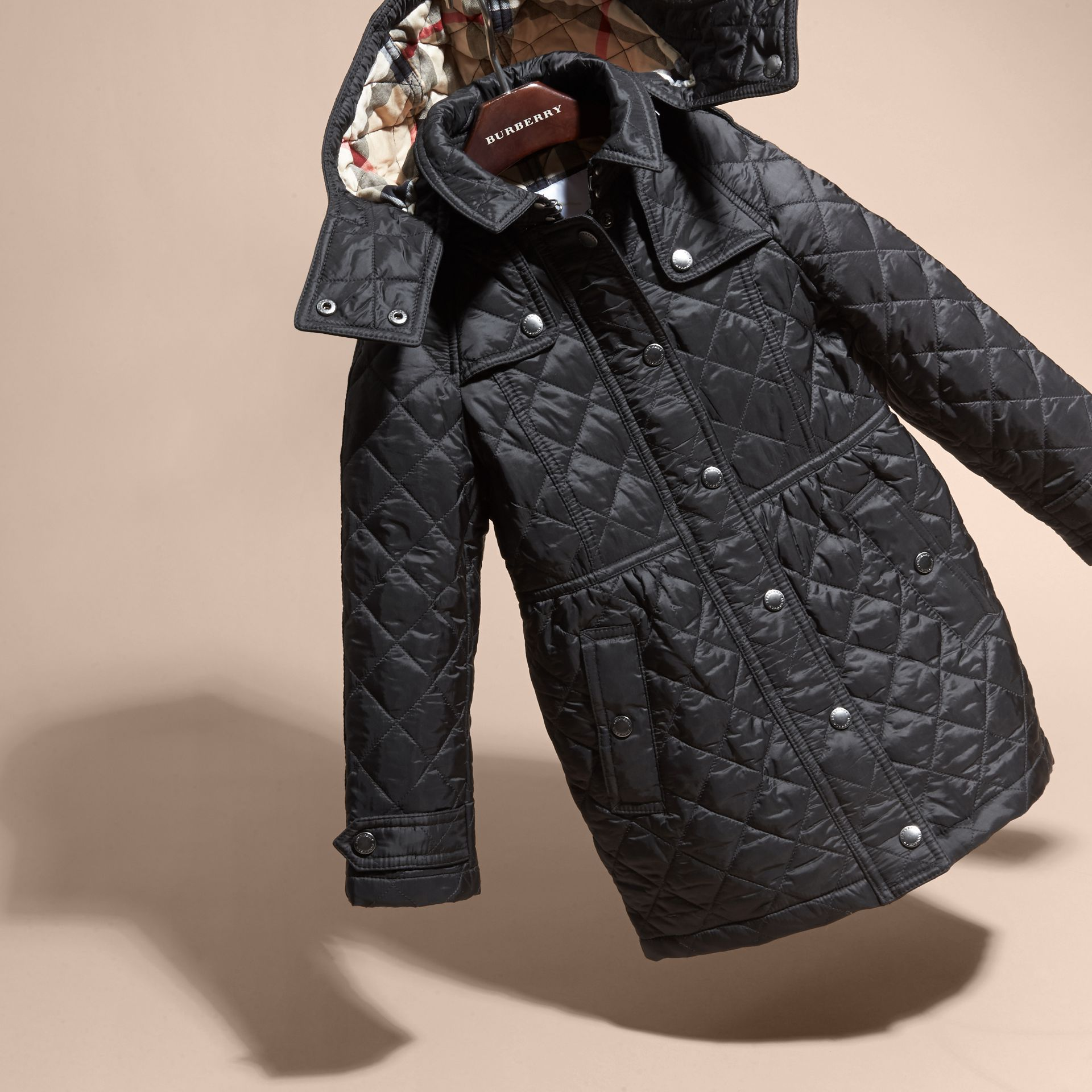 Diamond Quilted Trench Coat in Black - Girl | Burberry - gallery image 3