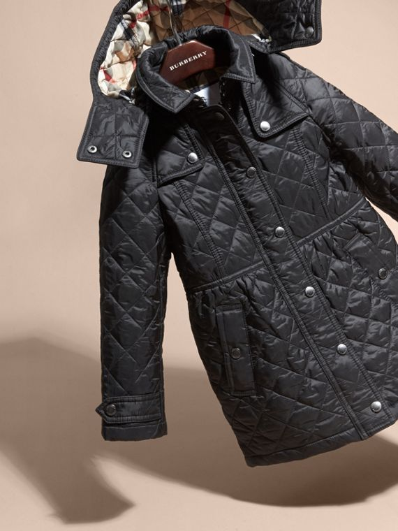 Diamond Quilted Trench Coat in Black - Girl | Burberry - cell image 2