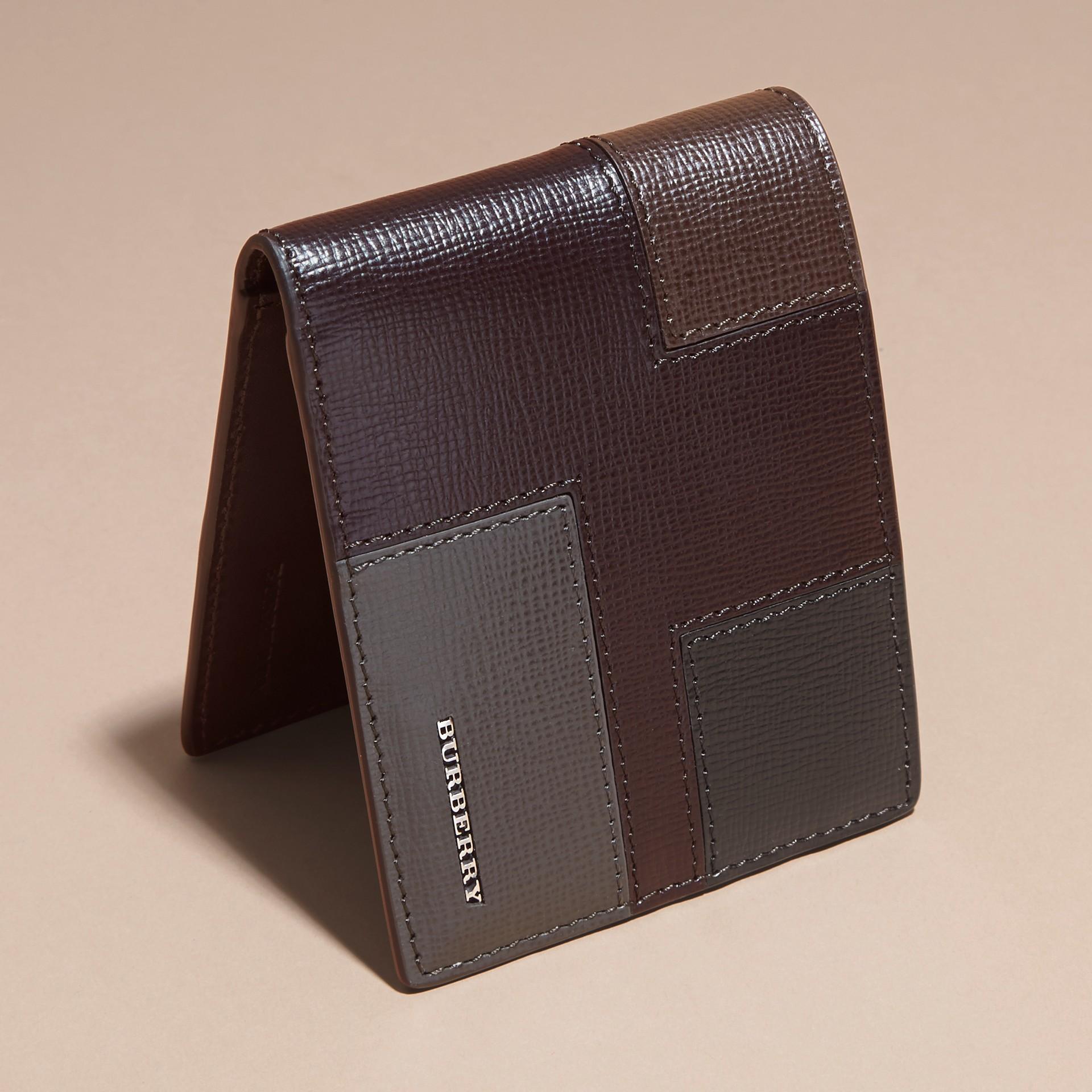 Wine Colour Block London Leather Folding Wallet Wine - gallery image 3