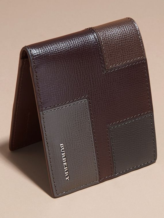 Wine Colour Block London Leather Folding Wallet Wine - cell image 2