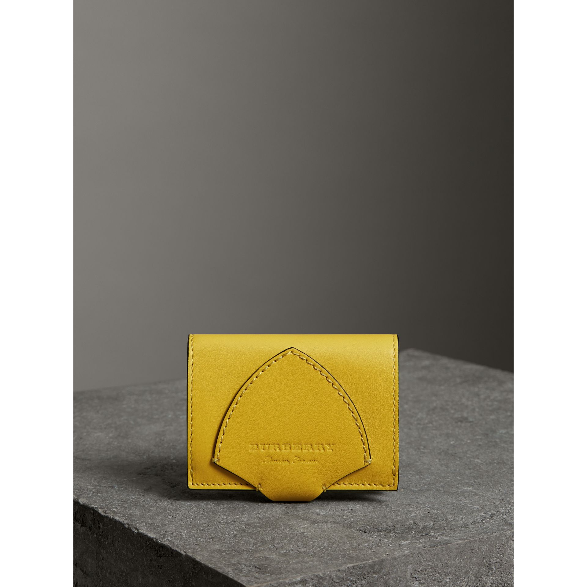 Equestrian Shield Leather Continental Wallet in Bright Larch Yellow - Women | Burberry United Kingdom - gallery image 4