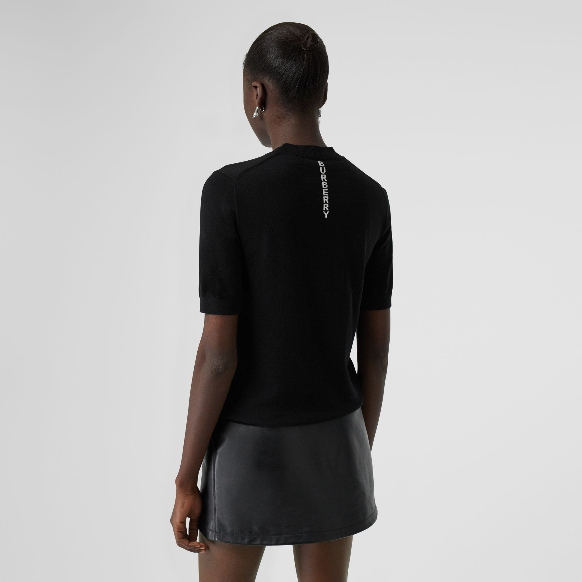Short-sleeve Logo Intarsia Merino Wool Sweater in Black - Women | Burberry Canada - gallery image 2