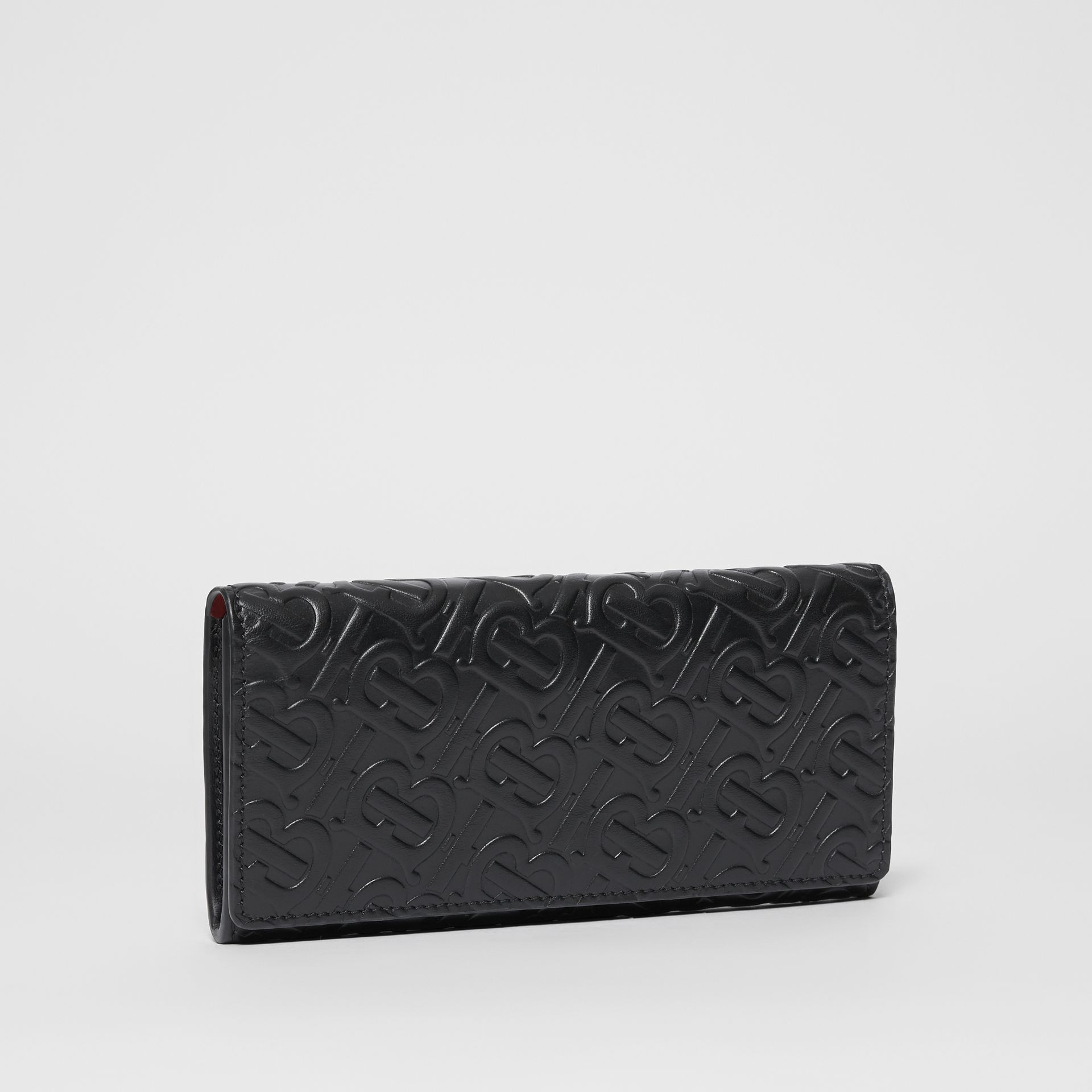 Monogram Leather Continental Wallet in Black - Women | Burberry - gallery image 4