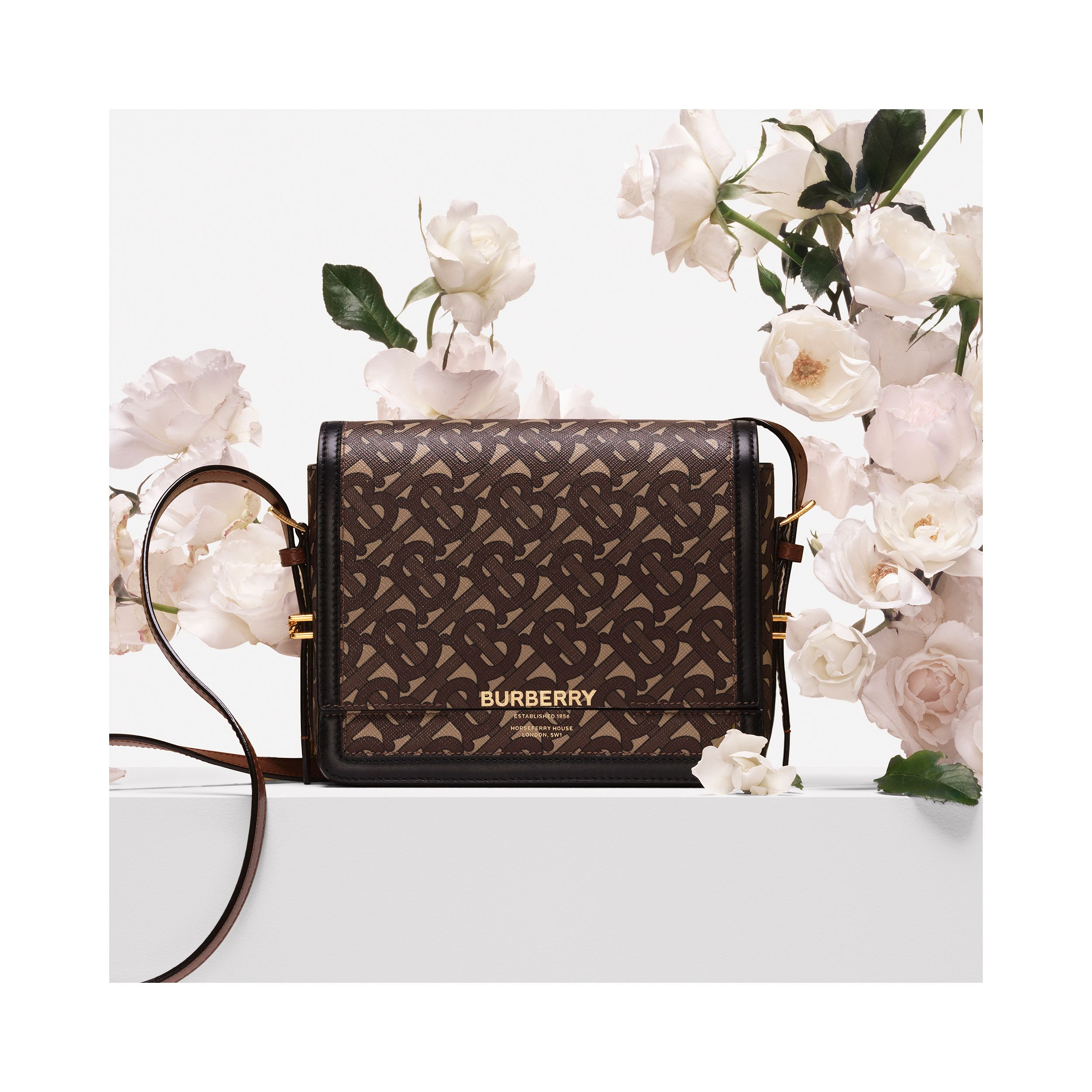 Small Monogram Print E-canvas Grace Bag in Bridle Brown - Women | Burberry Australia - 2