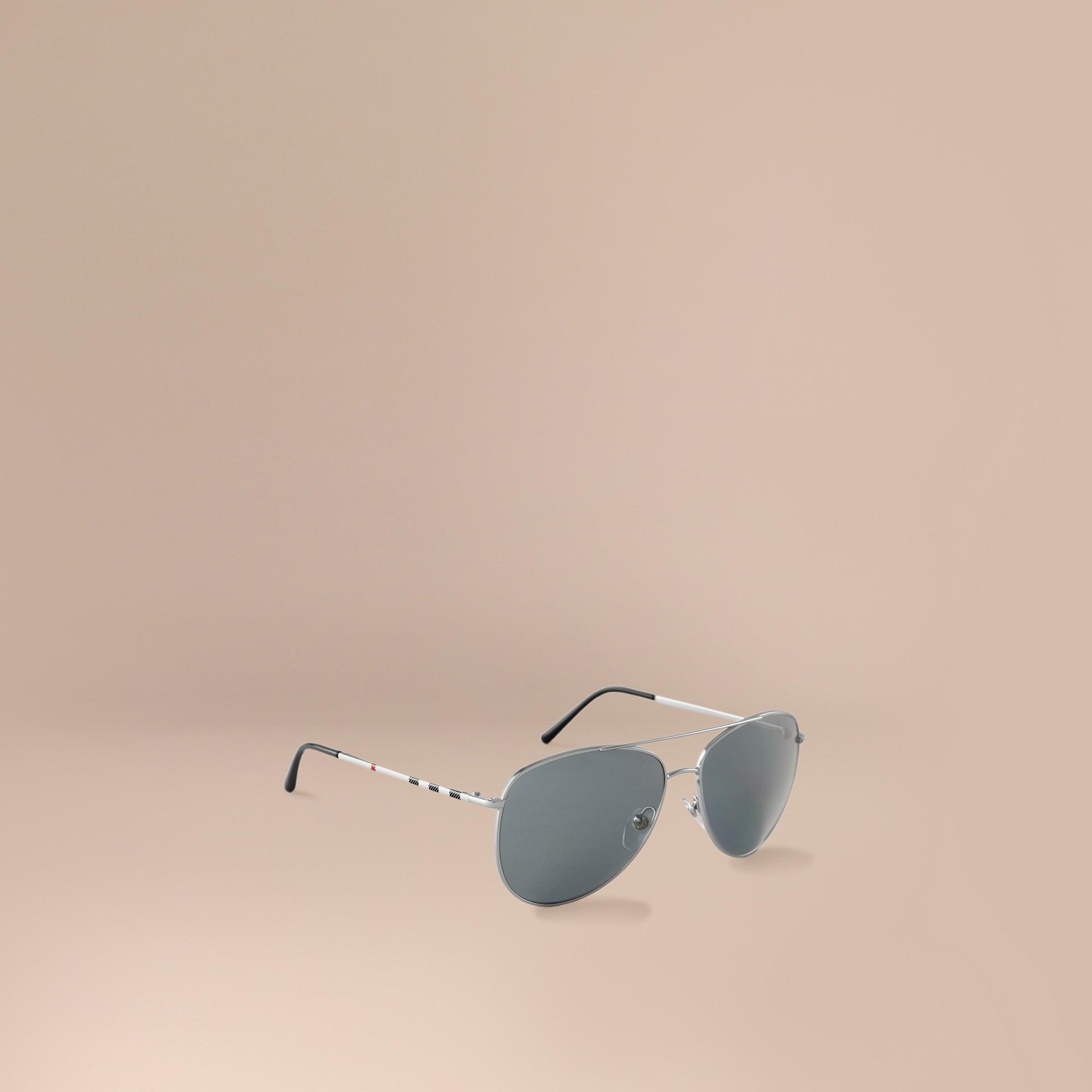 Silver Check Arm Aviator Sunglasses Silver - gallery image 1