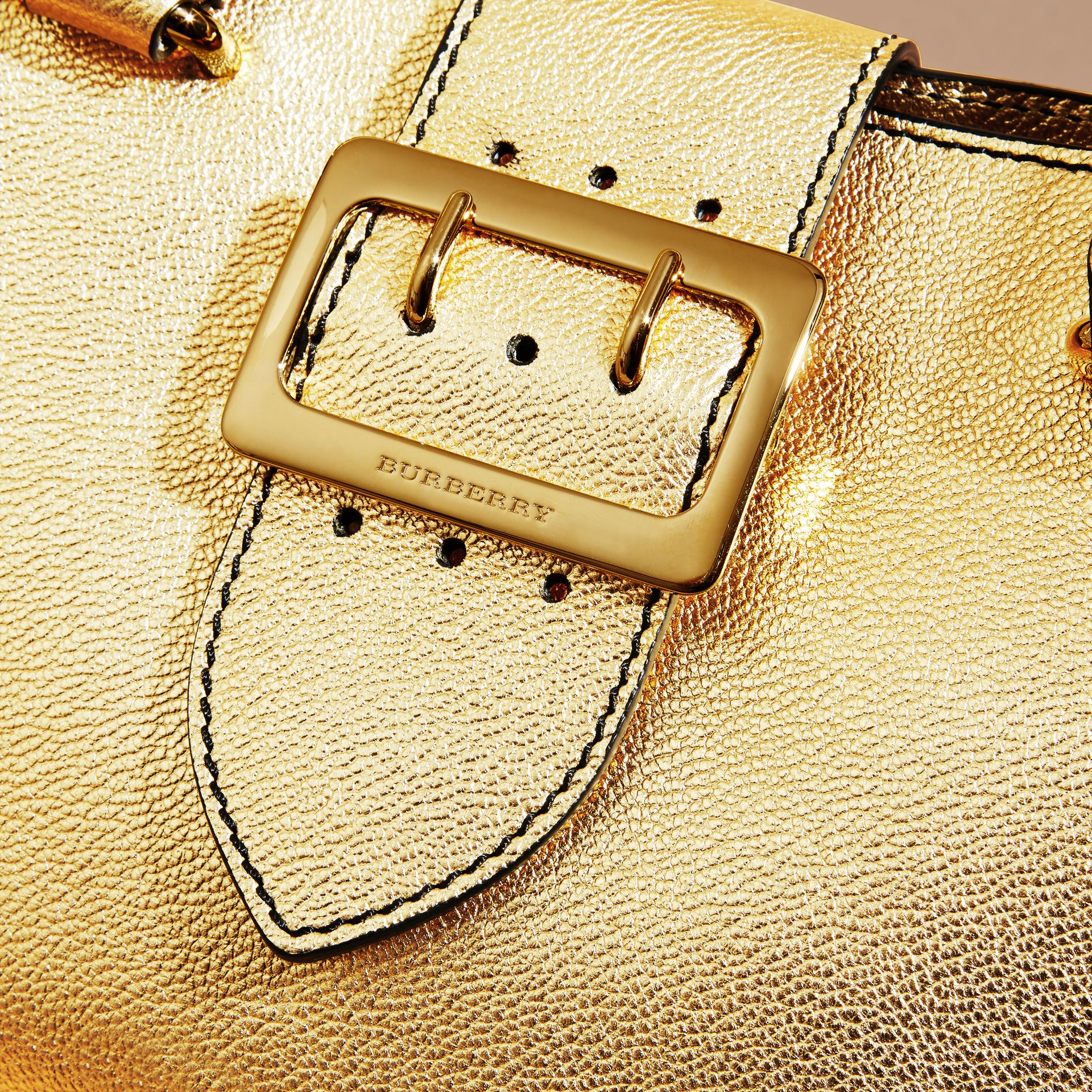 Gold The Small Buckle Tote in Metallic Leather - gallery image 2