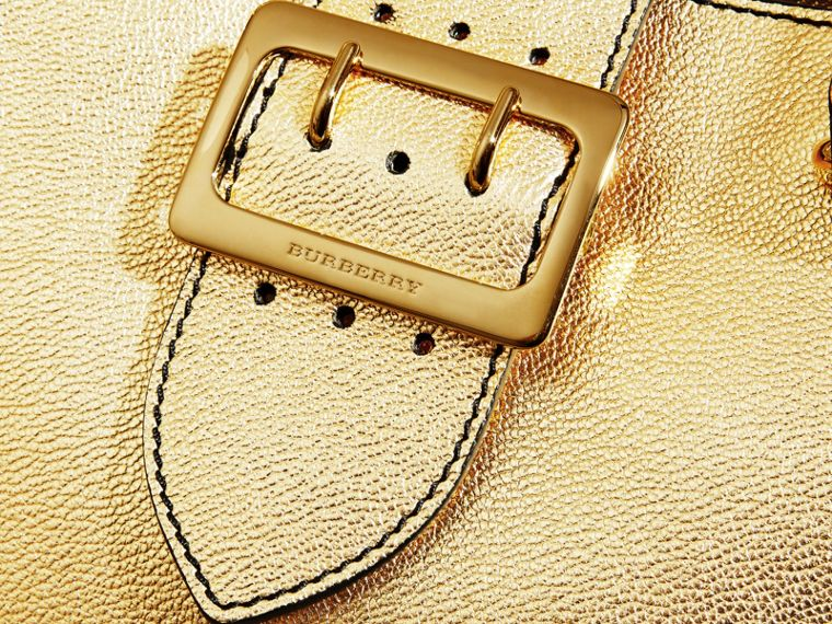 Gold The Small Buckle Tote in Metallic Leather Gold - cell image 1