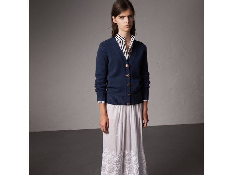 Bird Button Cashmere Cardigan in Navy - Women | Burberry - cell image 4