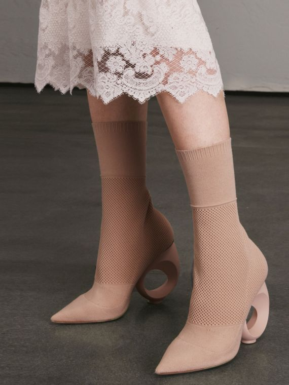 Mid-calf Knitted Boots with Sculpted Heel in Nude