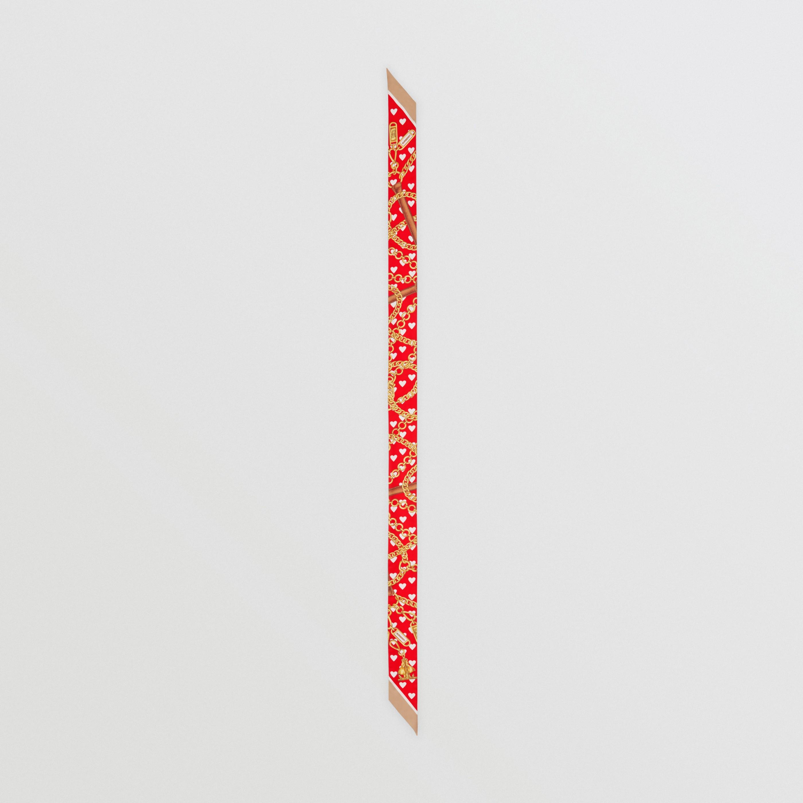 Sciarpa sottile in seta con motivi d'archivio (Rosso Intenso)   Burberry