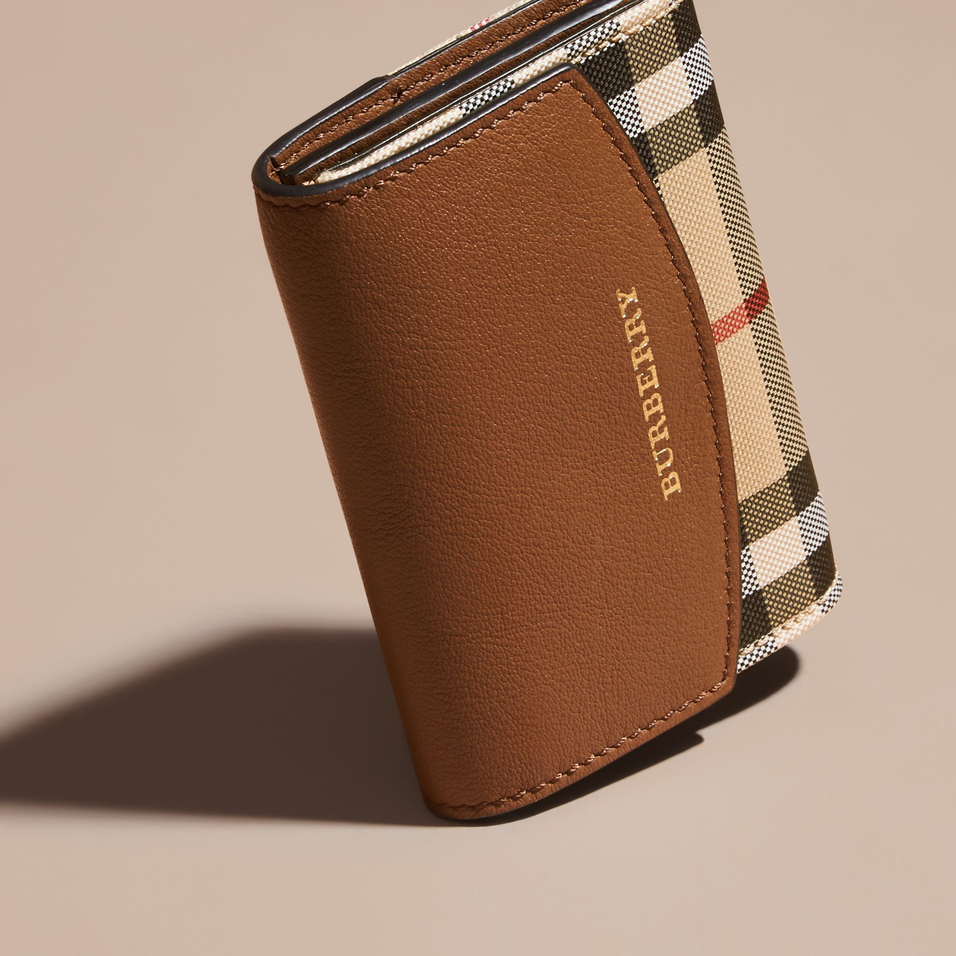 Horseferry Check and Leather Card Case in Tan - gallery image 3