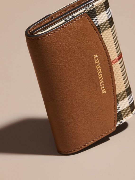 Horseferry Check and Leather Card Case in Tan - cell image 2