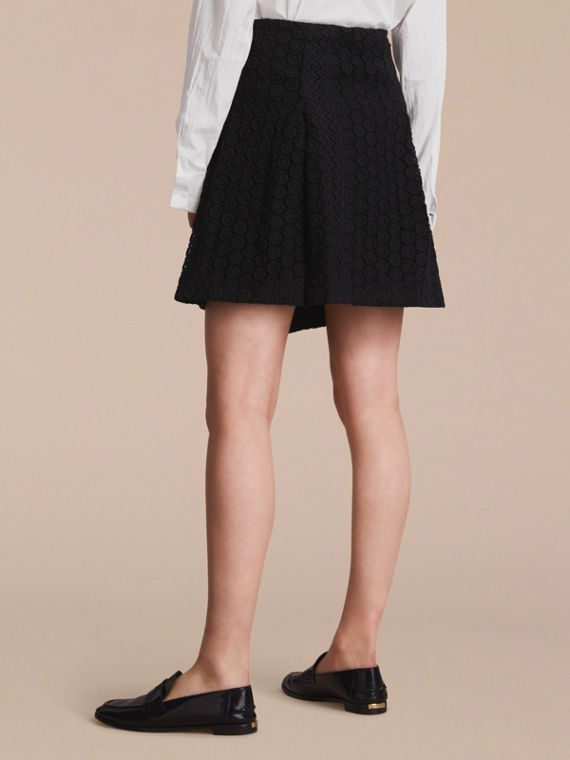 Mixed Lace Pleated Skirt in Black - Women | Burberry - cell image 2