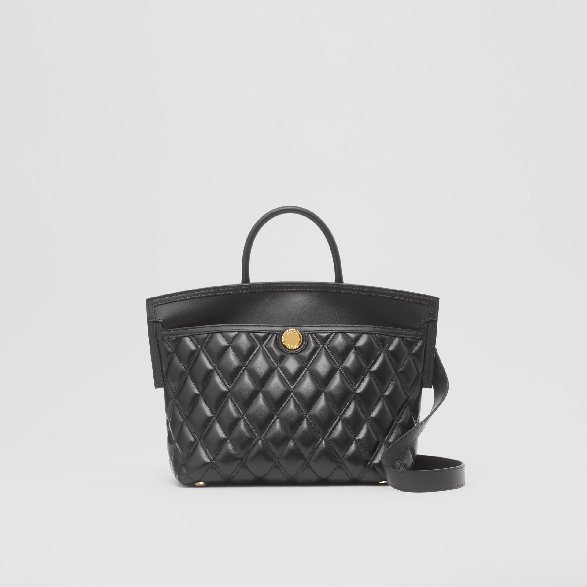 Small Quilted Lambskin Society Top Handle Bag in Black - Women | Burberry - gallery image 0