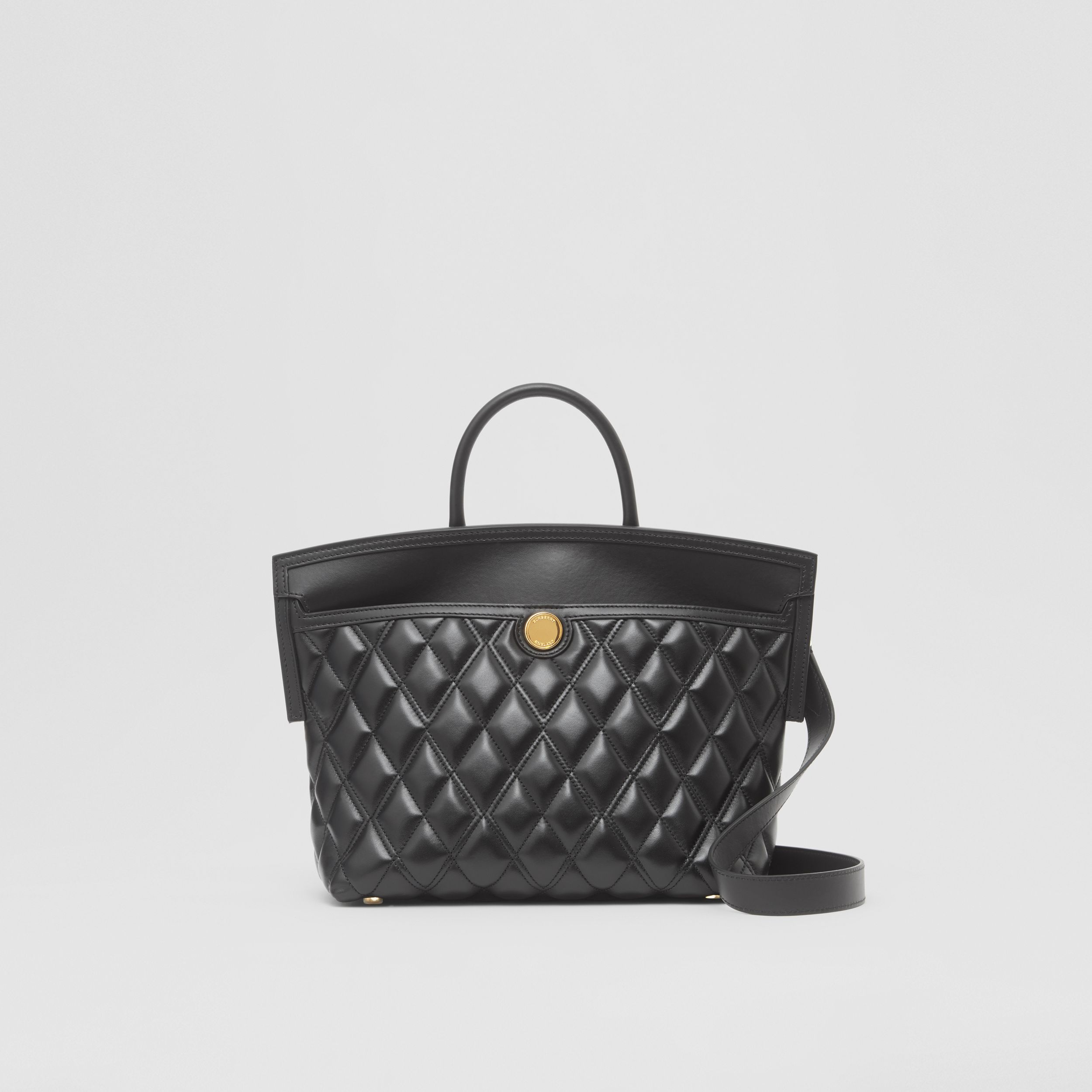 Small Quilted Lambskin Society Top Handle Bag in Black - Women | Burberry - 1