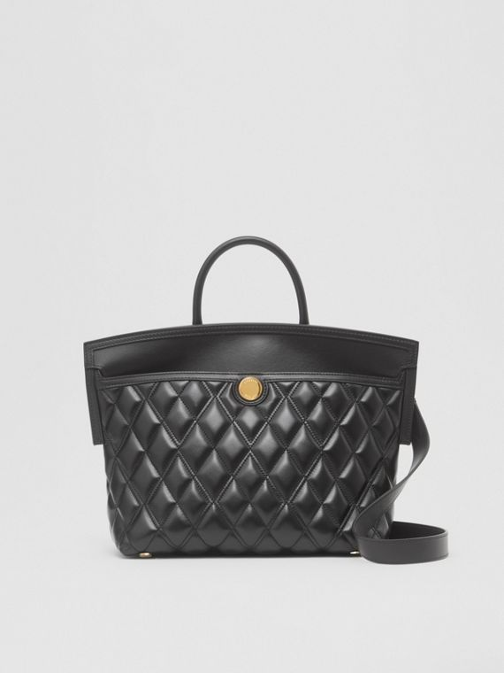 Small Quilted Lambskin Society Top Handle Bag in Black