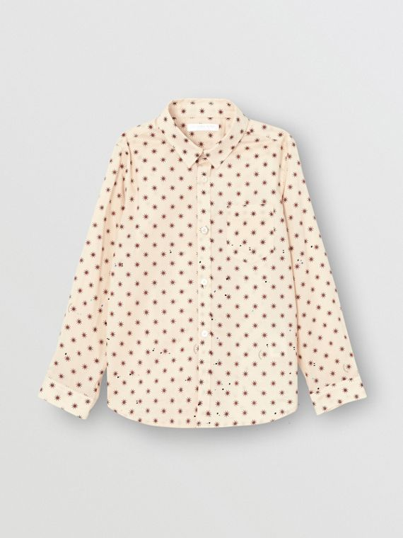 Star Print Cotton Shirt in Military Red