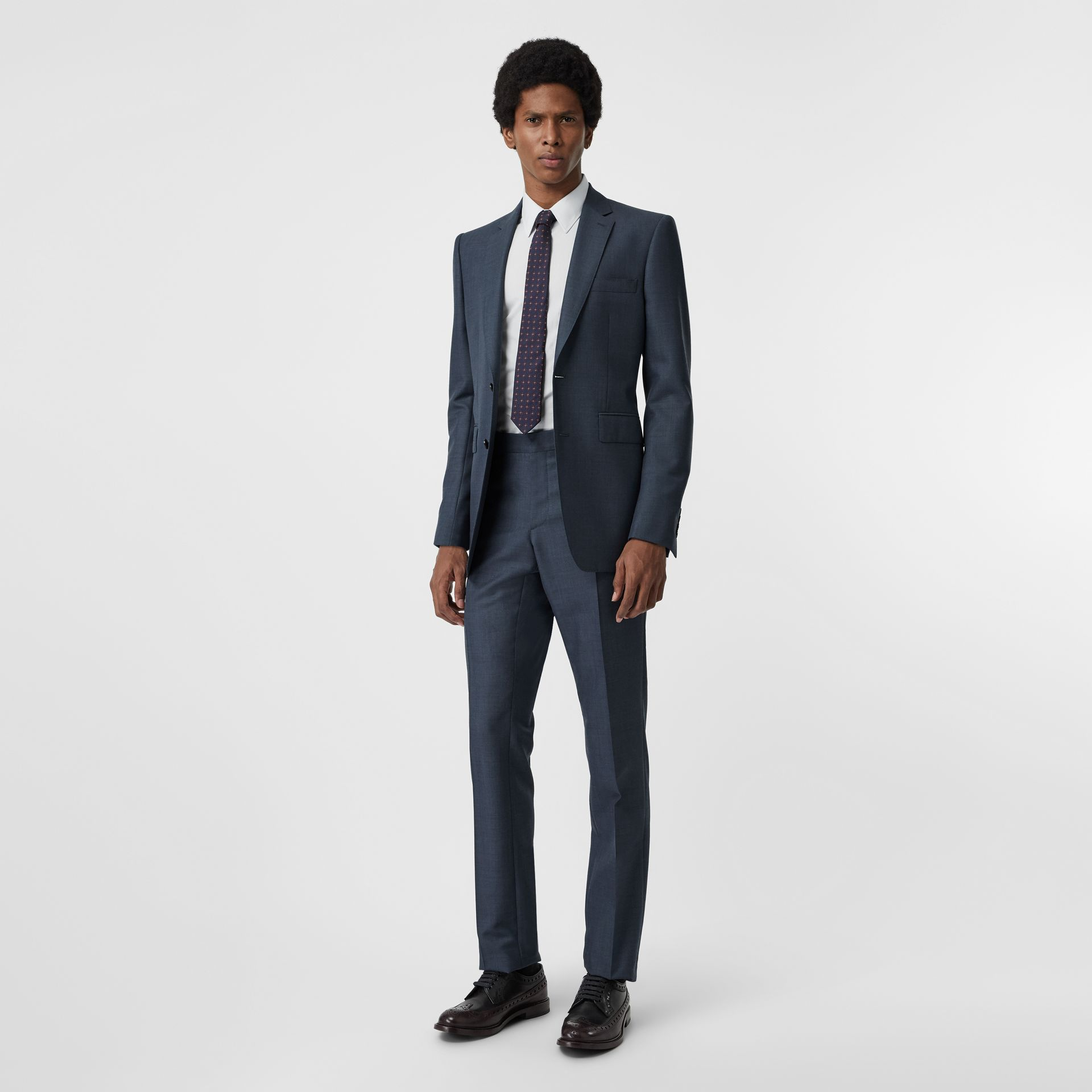 Classic Fit Wool Mohair Silk Suit in Steel Blue - Men | Burberry United States - gallery image 0