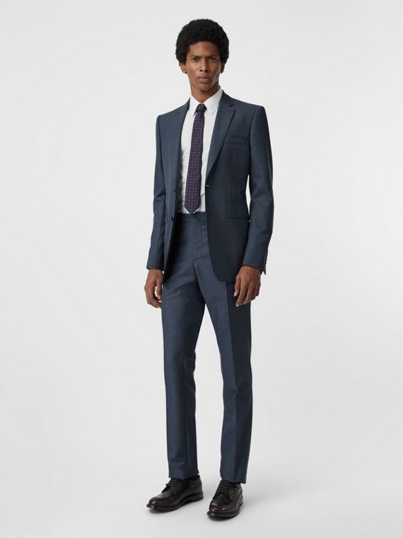 Classic Fit Wool Mohair Silk Suit in Steel Blue