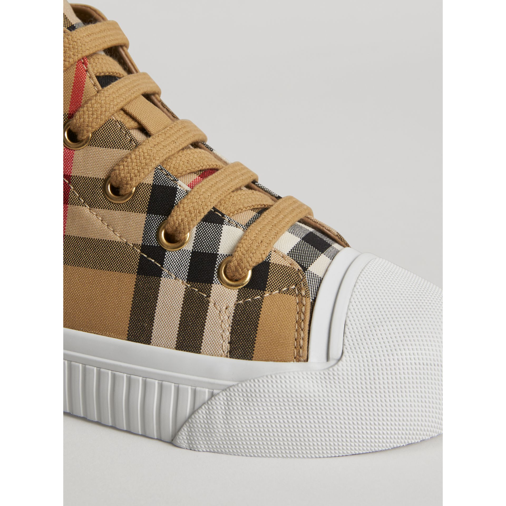 Vintage Check and Leather High-top Sneakers in Antique Yellow/optic White | Burberry Canada - gallery image 1