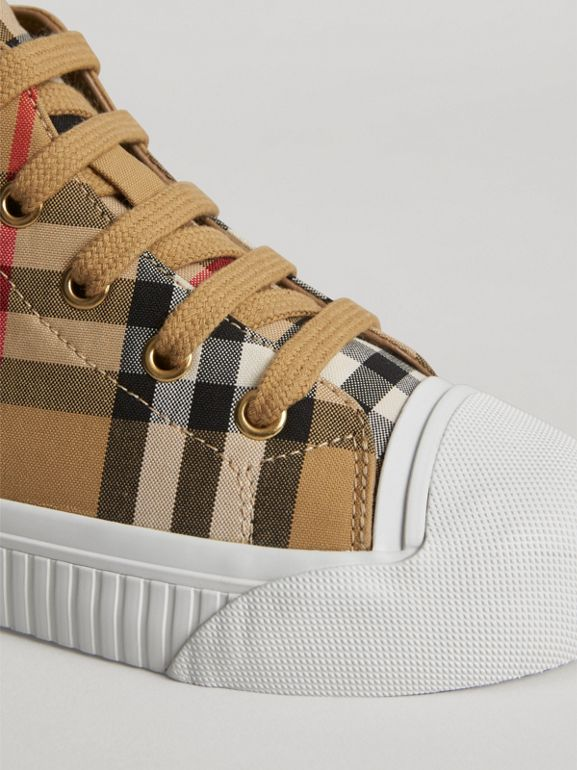 Vintage Check and Leather High-top Sneakers in Antique Yellow/optic White | Burberry Australia - cell image 1