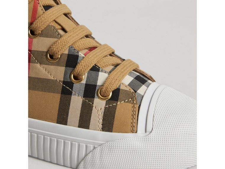 Vintage Check and Leather High-top Sneakers in Antique Yellow/optic White | Burberry - cell image 1