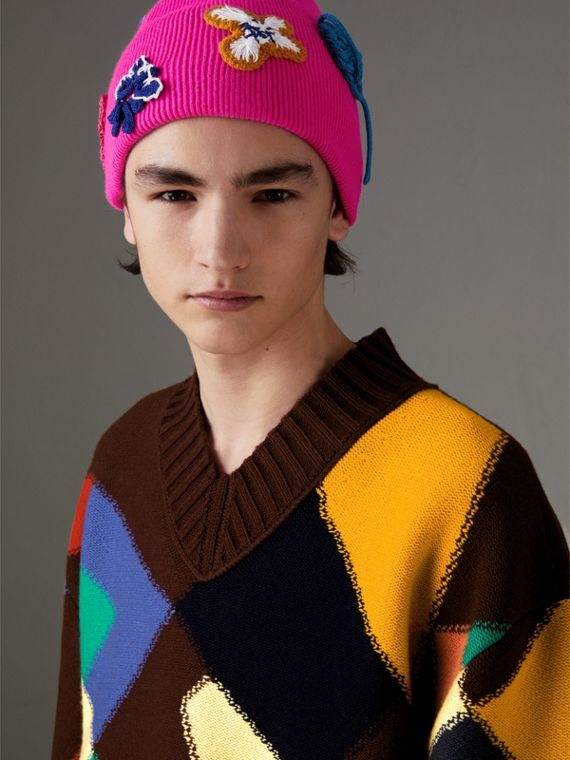 Floral Crochet Cashmere Beanie in Fuchsia Pink - Women | Burberry United Kingdom - cell image 3