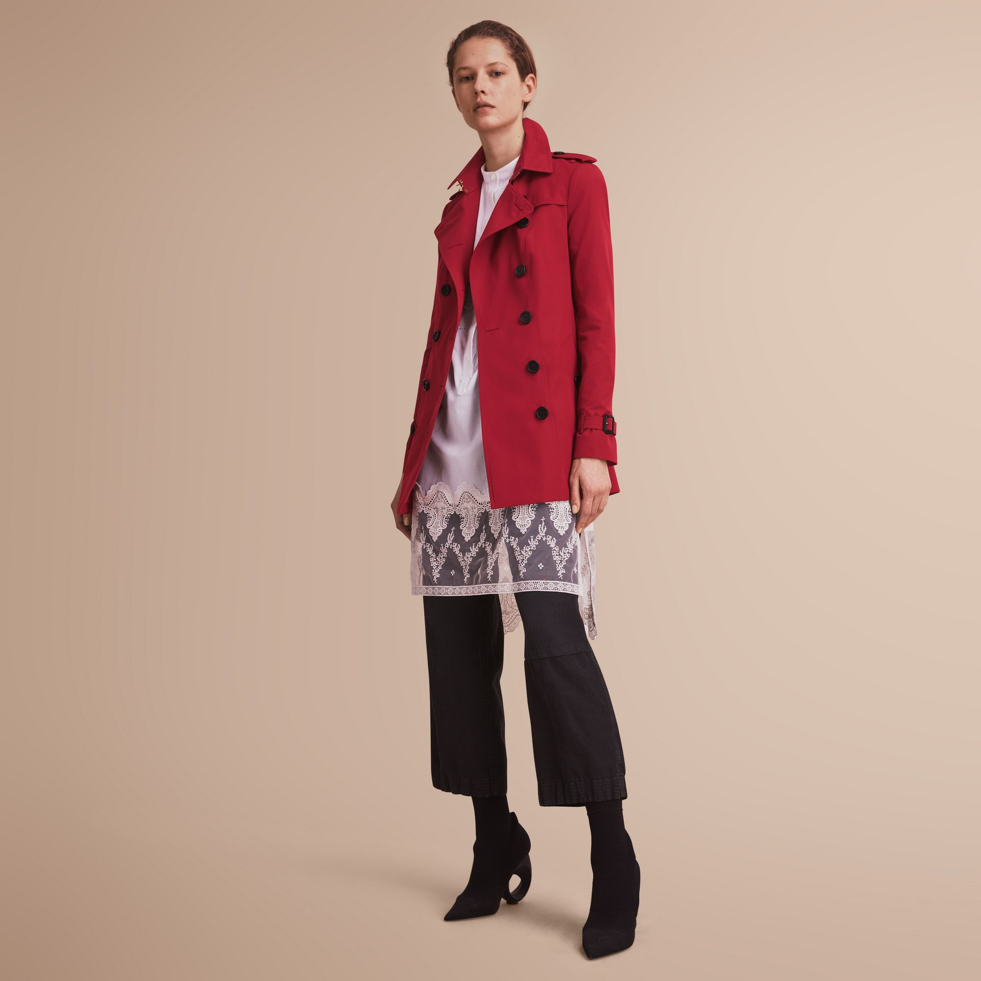 The Sandringham – Short Heritage Trench Coat in Parade Red - gallery image 7