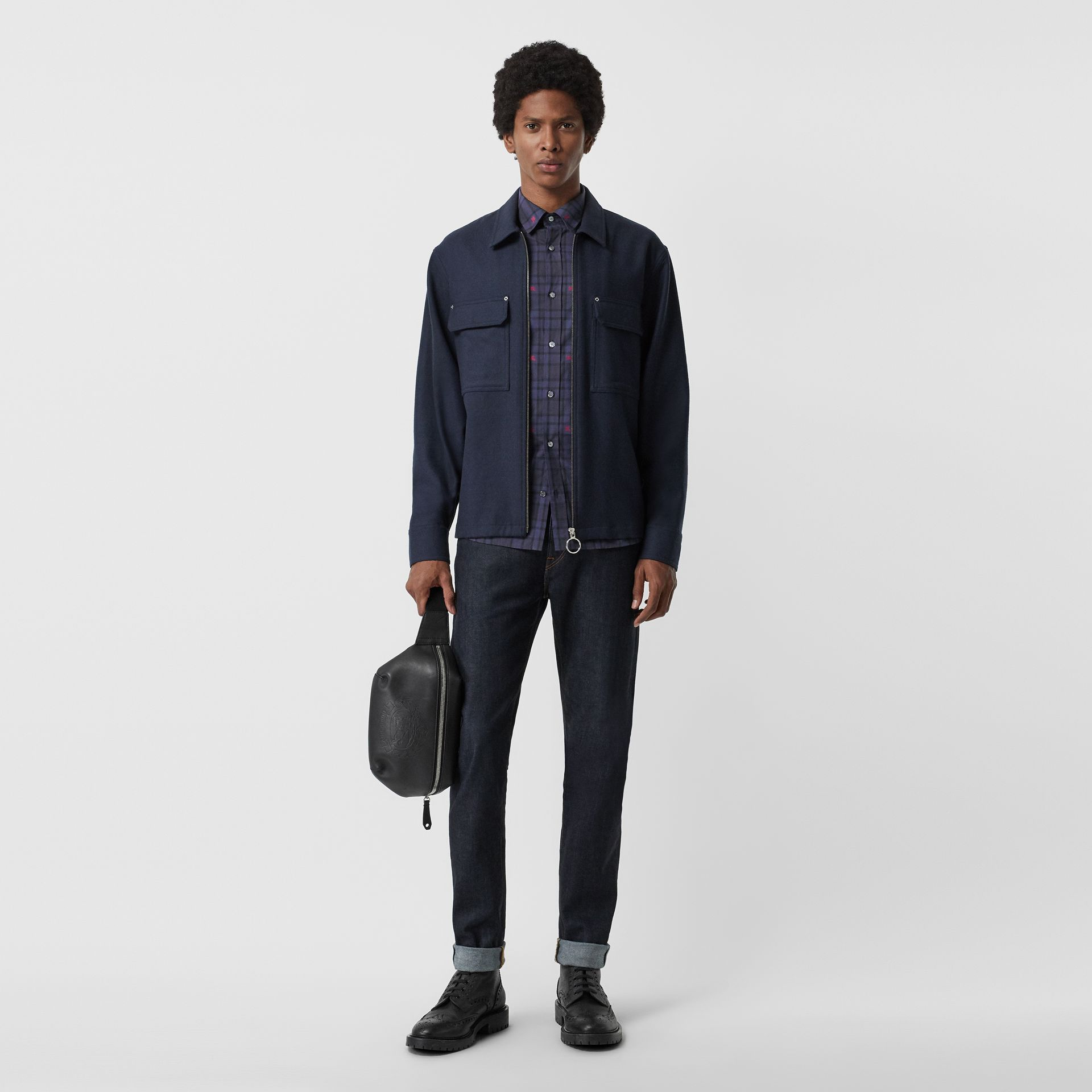 Equestrian Knight Check Cotton Shirt in Dark Indigo - Men | Burberry United Kingdom - gallery image 4