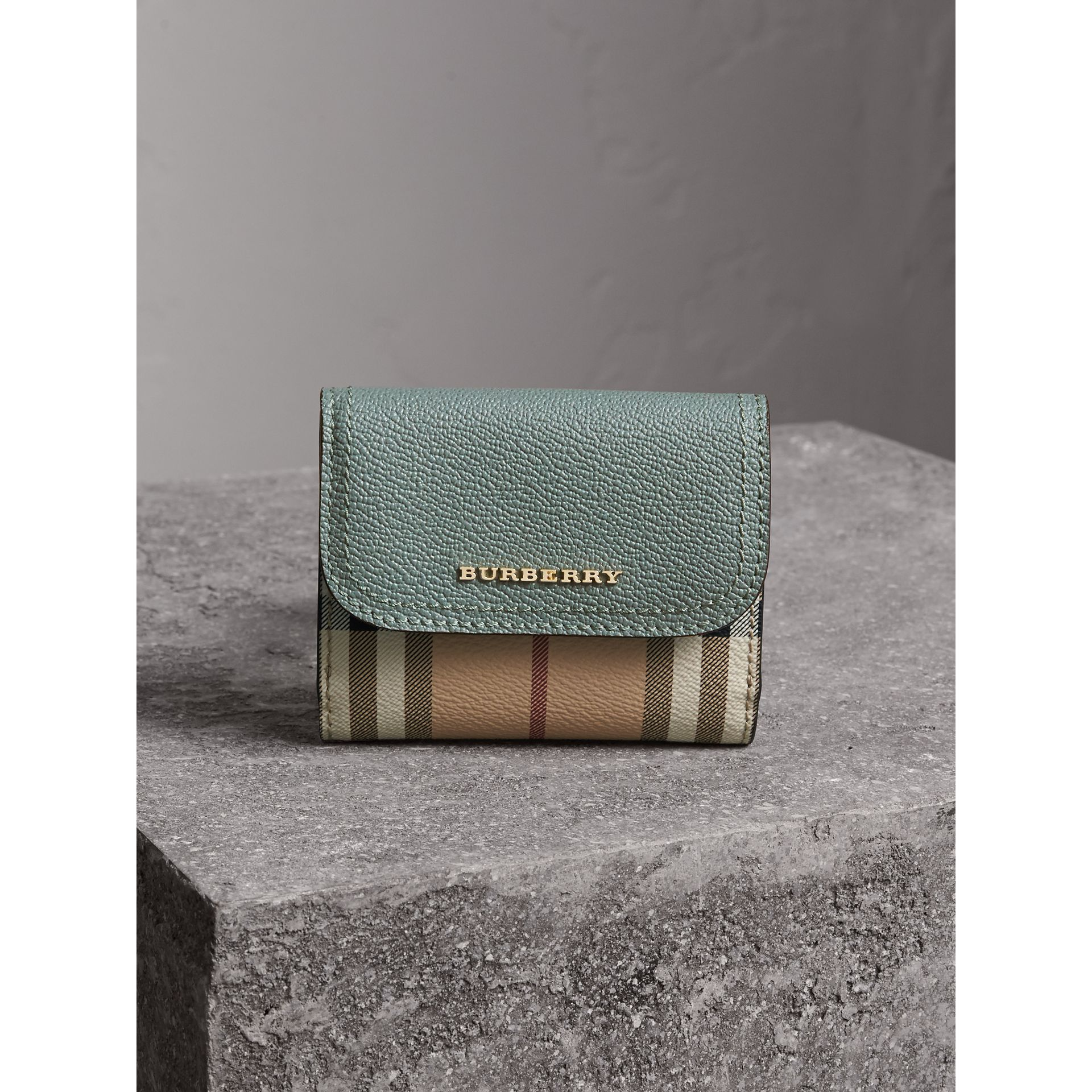Leather and Haymarket Check Wallet in Eucalyptus Green/multicolour - Women | Burberry Australia - gallery image 6