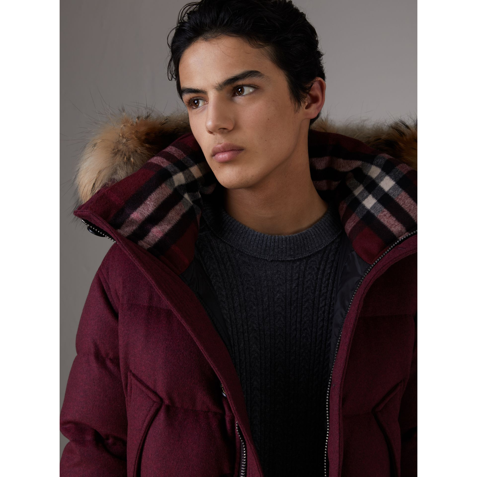 Short Detachable Fur Trim Cashmere Puffer Jacket in Dark Plum Melange - Men | Burberry - gallery image 1