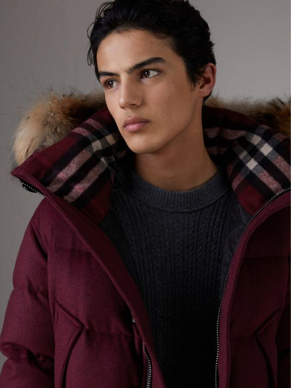 Short Detachable Fur Trim Cashmere Puffer Jacket in Dark Plum Melange - Men | Burberry - cell image 1