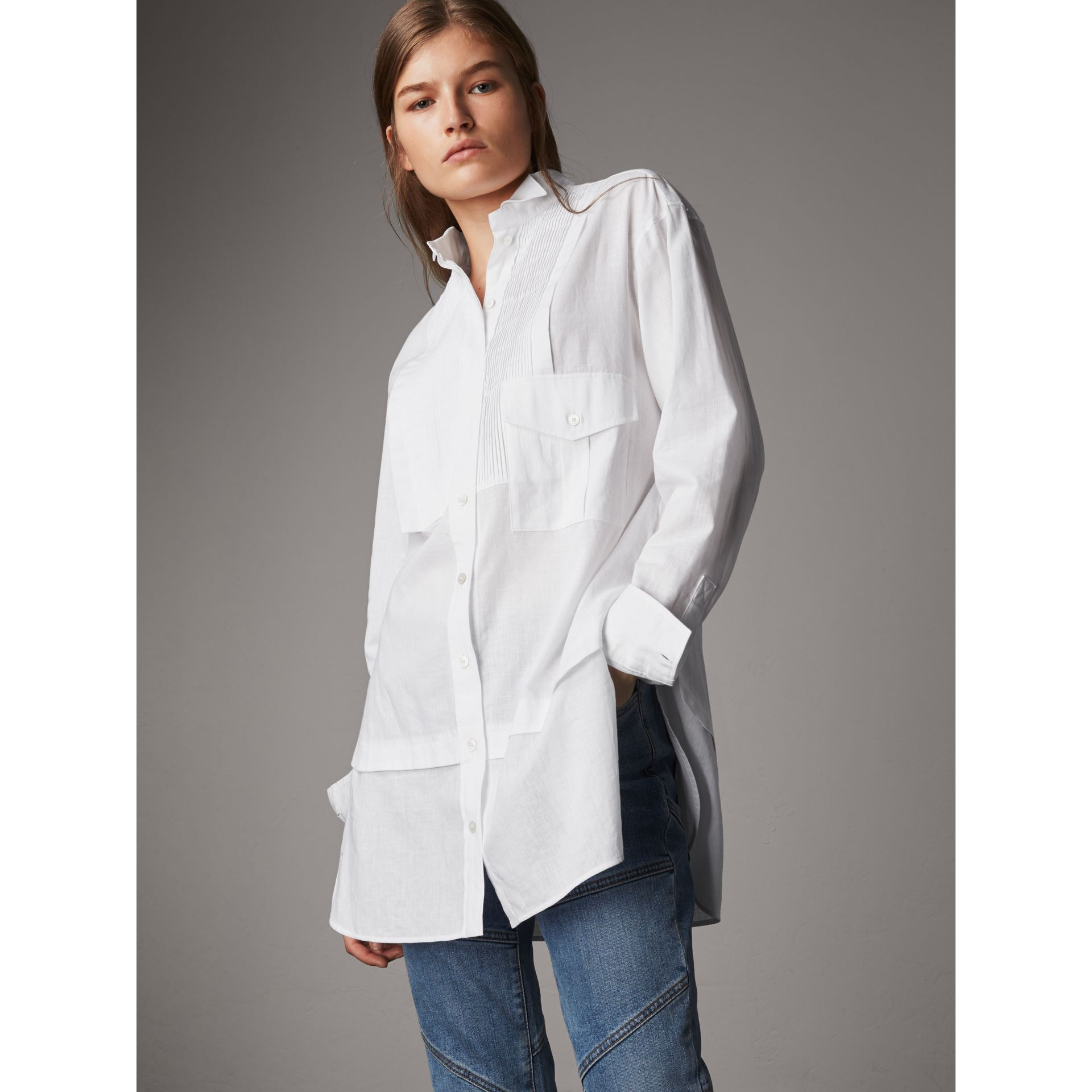 Pintuck Bib Wing Collar Longline Linen Cotton Shirt in White - Women | Burberry Australia - gallery image 1